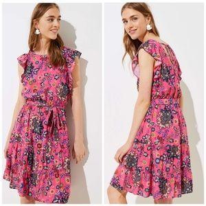 NWT 🌷LOFT Pink Paisley Flutter Dress - XSP